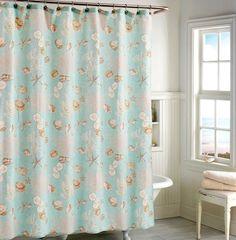 Aqua Pastel Sea Shell Cotton Shower Curtain.... http://www.beachblissdesigns.com/2016/09/aqua-beach-bath-collection.html