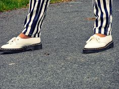 Dr Martens Siano and striped trousers Dr. Martens, Boat Shoes, Trousers, Style, Fashion, Trouser Pants, Swag, Moda, Pants
