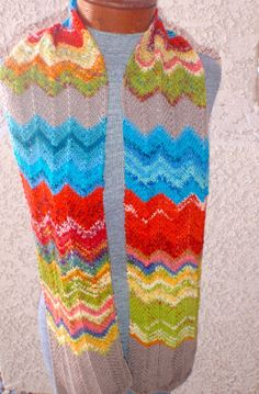 Colorful hand-knitted long scarf in chevron pattern by susansworld