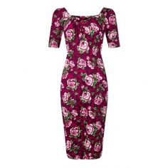 Collectif Vintage Dolores Half Sleeve Bloom Pencil Dress ($32) ❤ liked on Polyvore featuring dresses, white pencil dress, floral dresses, vintage rockabilly dresses, floral print dress and rockabilly dresses