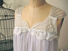 Annabelle | Vintage 1960s Babydoll Periwinkle Nylon Chiffon Trapeze with Lace Neckline and Gossamer Shoulders by BobbinsNBombshells on Etsy