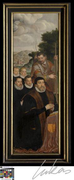 """De aanbidding door de herders- Joos de Dambauder -from the left panel of """"Adoration of the sshepherds"""" triptych by Peter Pourbus."""