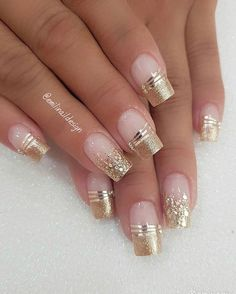 faded french nails With Art – faded french nails With Art… – Beauty Wedding Nails Fancy Nails, Gold Nails, Pink Nails, Cute Nails, Fancy Nail Art, Pink Nail Art, Glitter Nail Art, Cute Acrylic Nails, Gold Glitter