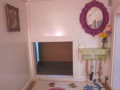 Hang mirror in playhouse