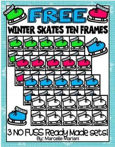 FREE Winter Skates Ten Frames-COMMERCIAL USE-COLOUR AND BLACK-WHITE from KinderPrep on TeachersNotebook.com -  (40 pages)  - This package consists of 3 complete sets of ten frames that have a skate on the frame. There are 3 colours: pink, blue and green for a total of 30 colour and 10 black/white images.