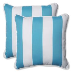 Pillow Perfect Outdoor Cabana Stripe Turquoise 18.5-inch Throw Pillow