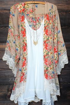 Floral Print Lace Splicing Long Sleeve Kimono