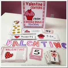 Valentine Centers & Pocket Chart Activities  **Free Recording Sheet**