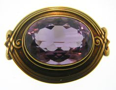 Art Nouveau Amethyst And gold Brooch