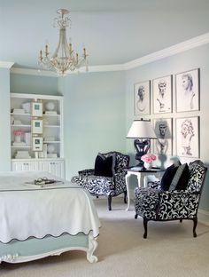 the mint green wall in Transitional-Bedroom