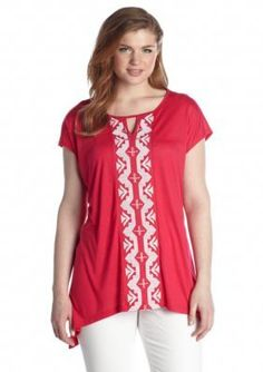 New Directions  Plus Size Tribal Embroidered Sharkbite Top