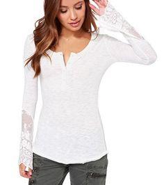 """Trendy Series"" Scoop Collar Long Sleeve See-Through Women's T-Shirt"