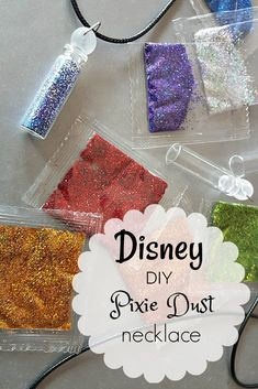 Disney DIY Pixie Dust Necklace - Tinkerbell fairy dust craft for a Peter Pan birthday party or family movie night Birthday Party Centerpieces, Fairy Birthday Party, Disney Birthday, Birthday Party Themes, Birthday Nails, Birthday Celebration, Birthday Ideas, Princess Birthday, Birthday Bash