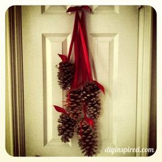Hanging Pine Cones ~ so simple, so elegant . I think I would use the cinnamon scented pine cones and spray paint the tips white. Christmas Pine Cones, Rustic Christmas, Winter Christmas, Christmas Holidays, Christmas Wreaths, Christmas Door, Pine Cone Decorations, Thanksgiving Decorations, Christmas Decorations