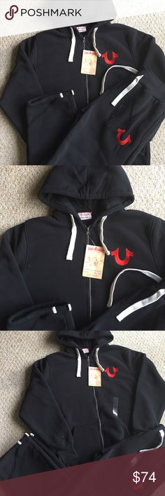 New Men's True Religion Hoodie Sweatpants Set Brand new with tags. Black with Red stitch. Drawstring Sweatpants with Zipped Hoodie. Great deal! True Religion Shirts Sweatshirts & Hoodies