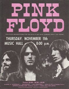 As part of the band's 1971 Meddle US tour, Pink Floyd performed in Boston at the Music Hall. Rock Vintage, Vintage Music, Vintage Style, Rock Posters, Vintage Concert Posters, Vintage Posters, Retro Posters, Poster Art, Poster Prints