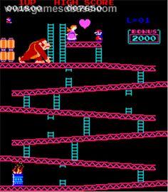 Donkey Kong Arcade Game 1981. Mario, Donkey Kong and Peach's first gig =D