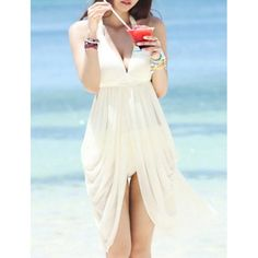 Backless Solid Color Casual Push-Up Design Pleated Hem Beachwear, WHITE, L in Swimwear | DressLily.com