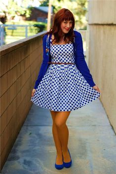 blue polka dot dress and mustard tights. this look from the ModCloth Style Gallery! Cutest community ever. Orange Tights, Colored Tights Outfit, Coloured Tights, Winter Tights, Super Cute Dresses, Mellow Yellow, Mustard Yellow, Fashion Gallery, Fall Fashion Trends