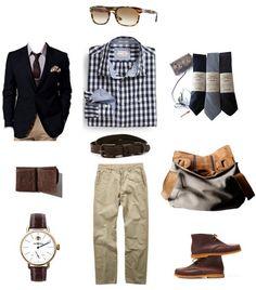 C'est une tenue de travail. C'est une veste de sport bleu marine et un pantalon beige. C'est des chaussures marron et bleu cravates.