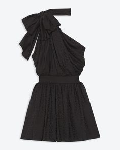 Asymmetrical bow neck dress in black babycat silk jacquard