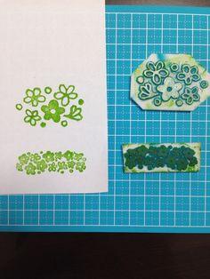 Pyrex crazy daisy DIY stamp