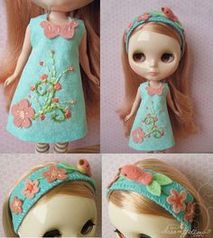 Cute embroidered felt dress with embellished head band for Blythe doll.  No instructions, just inspiration.