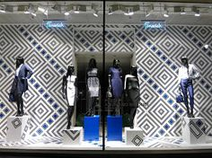 Retail window display with interesting pattern- Fenwick, London.