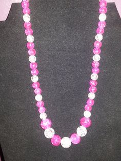 Pink and white beaded crackle glass necklace must by ILoveBeads247, $11.00