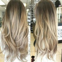 Ash blonde and gold ombre hair, balayage clip in hair extensions, dark ❤ li Hair Color And Cut, Ombre Hair Color, Ombre Bob, Ash Ombre, Blonde Color, Dark Ash Blonde Hair, Medium Blonde, Golden Blonde, Brown Blonde