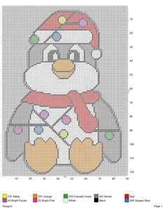 PENGUIN *WRAPPED IN CHRISTMAS LIGHTS* by KATHY -- WALL HANGING