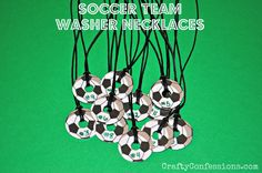 Soccer Centerpiece Ideas   Soccer Team Washer Necklaces