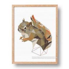 Squirrel cross stitch pattern Geometric cross stitch pattern