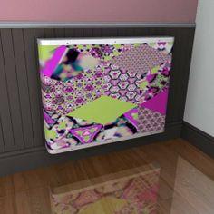 Patchwork art - a YOYO radiator cover with an Emma Gillett design