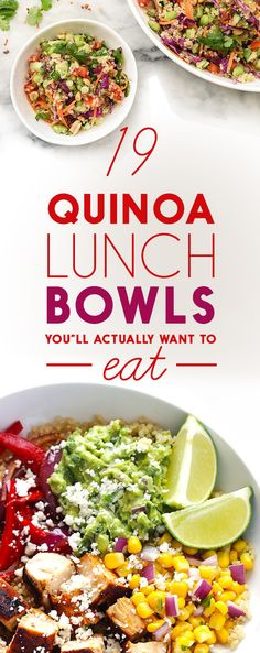 19 Quinoa Lunch Bowls Youll Actually Want To Eat healthy lunch recipes Healthy Recipes, Clean Eating Recipes, Healthy Cooking, Healthy Snacks, Vegetarian Recipes, Healthy Eating, Cooking Recipes, Healthy Protein, Quinoa Lunch Recipes