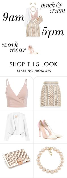 """""""Work Wear"""" by janastasiagg ❤ liked on Polyvore featuring Balmain, Rebecca Taylor, Gianvito Rossi, Wolf and Carolee"""