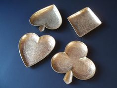 Large Solid Brass Card Suit Dishes/ ENGLAND/Suit of Cards/ Textured Brass…