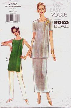 Very Easy Vogue Pattern 7447 Koko Beall Womens Tunic, Skirt & Pants Size 18 20 22 Bust 40 42 44