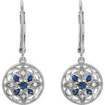 ES69750 - Blue Sapphire and Diamond Renaissance Earrings