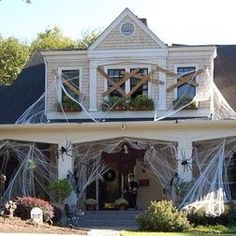 patio outdoor halloween decoration ideas scary house decor spiderweb and witch cemetery ornament spooky decor hanging witch and skeleton inspirational - How To Decorate For Halloween Outside
