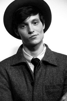 hat, blazer, skinny tie