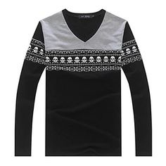XinYuanGe® Men's V-Neck Cotton Slim Casual Long Sleeve Print New Fall 2014 Tops T-Shirts – USD $ 14.99