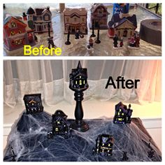 Halloween village from Dollar Store Christmas village (idea stolen from another pinner and tweaked)