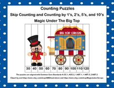 Looking for some activities to keep the kiddos learning?Try my circus themed Skip Counting and Counting by 1s Puzzles. There are 23 Counting Puzzles with numbers ranging from 1-120. Counting is done by 1s, 10s, 5s, and 2s. Different levels are included to allow for differentiation in your classroom.