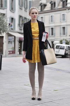 love a bright girly dress paired with a blazer
