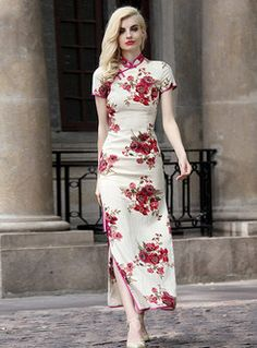 Side Slit Patch Print Slim Long Dress