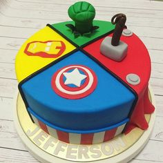 First birthday, birthday parties, avengers birthday cakes, birthday Avengers Birthday Cakes, Superhero Birthday Cake, 4th Birthday Cakes, Birthday Ideas, Birthday Parties, Pastel Avengers, Bolo Angry Birds, Marvel Cake, Avenger Cake