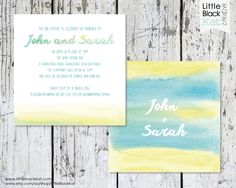 Watercolour Wedding Stationery Square by LittleBlackKatStore