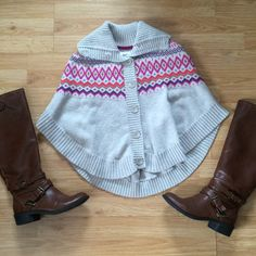 Grey and Multi Color Poncho Marked size large fits like a small H&M Sweaters Shrugs & Ponchos