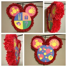 """Oh Toodles"" piñata finally done! Can't wait to see my son's face light up when he sees his Mickey Mouse birthday decorations!"